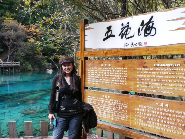 "viv in front of ""five-colored lake"""