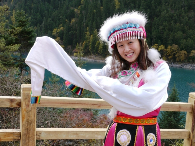 here's viv welcoming you in traditional tibetan garb!